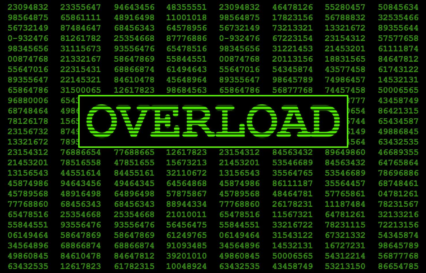 Screen message data overload